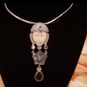 Sterling ,bone,moonstone,abalone pendant